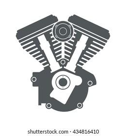 Motorcycle engine v twin vector flat icon logo emblem illustration