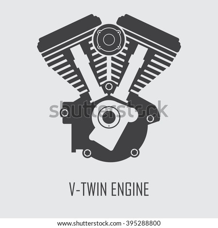 Motorcycle Engine V Twin Vector Flat Stock Vector (Royalty ...