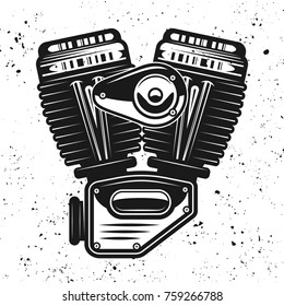 Motorcycle engine, v-twin motor vector black illustration isolated on background with removable grunge textures