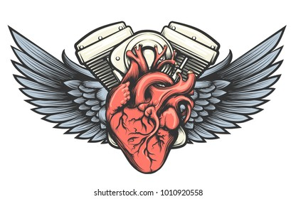 Motorcycle engine with wings tatoo label. Vector illustration.