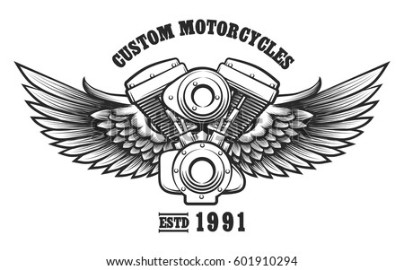 Motorcycle Engine Wings Tattoo Style Wording Stock Vector Royalty