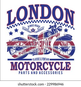 Motorcycle england flag typography, t-shirt graphics, vectors