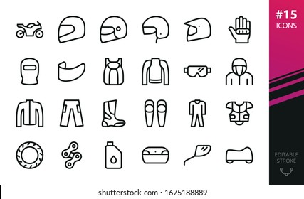 Motorcycle equipment and parts vector icons set. Set of motorbike, moto helmet, motorcycle gloves, balaclava, visor, jacket, moto boots, knee guards, vest protector, race suit, enduro goggles icon