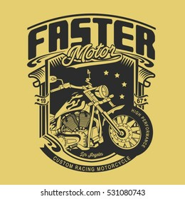motorcycle faster typography, t-shirt graphics, vectors