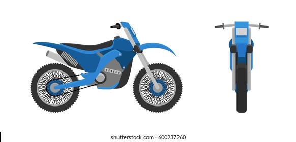 Motorcycle, front view, side view. vector illustration. Flat design style