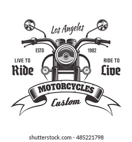 Motorcycle front view vector monochrome vintage emblem with ribbon and sample text isolated on white background