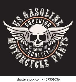 Motorcycle gasoline skull typography, t-shirt graphics, vectors
