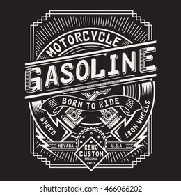 Motorcycle gasoline typography, t-shirt graphics, vectors