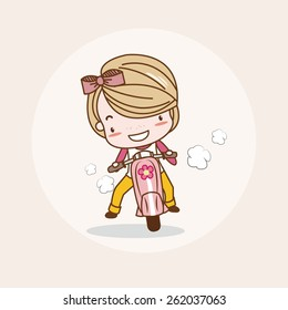 Motorcycle Girl / Lady / Woman Isolated Vector / Image / Illustration / Drawing / Cartoon / Animation