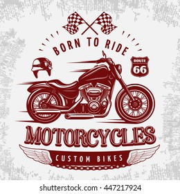 Motorcycle grey poster with vinous bike on road and headline born to ride vector illustration