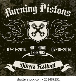 Motorcycle grunge burning pistons biker festival design poster vector illustration