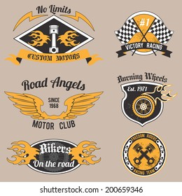 Motorcycle grunge no limits custom motors design badges set isolated vector illustration.