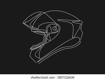 Motorcycle helmet icon. Biking sport sign. continuous line drawing