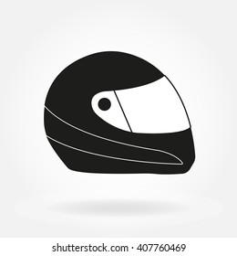 Motorcycle helmet. Racing helmet icon. Vector illustration.