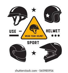 Motorcycle helmets icons set, isolated vector