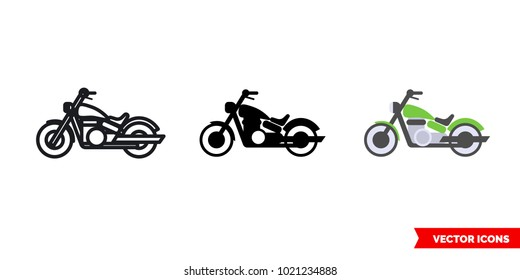 Motorcycle icon of 3 types: color, black and white, outline. Isolated vector sign symbol.