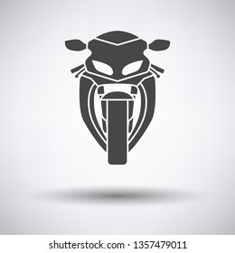Motorcycle icon front view on gray background, round shadow. Vector illustration.