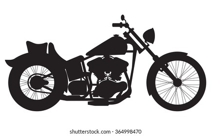 Motorcycle icon or sign. Vector black silhouette of bike or motorcycle.