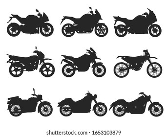 Motorcycle Icon Vector Logo Template. Flat style. Side view, profile.