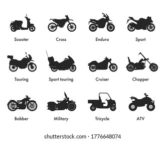 Motorcycle Icon Vector Logo Template. Side view, profile. Types of motorcycles