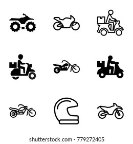 Motorcycle icons. set of 9 editable filled and outline motorcycle icons such as delivery bike, helmet