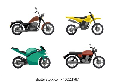 Motorcycle icons set in flat style. Vector illustrations of different type motorcycles.