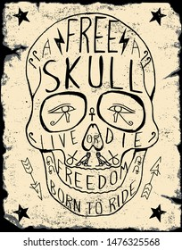 Motorcycle inspired typography skull vector illustration Grunge print template. Vector art.