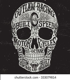 Motorcycle inspired typography skull vector illustration.