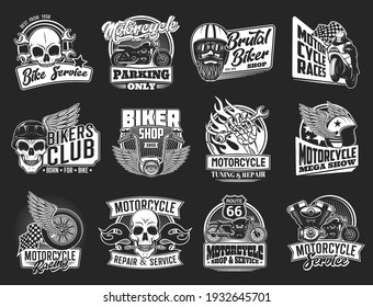 Motorcycle isolated icons of vector biker club and motorsport design. Motor bikes with wing, wheel and skull, rider, helmet, racing flag, wrench and spanner, engine, piston and fire flame emblems