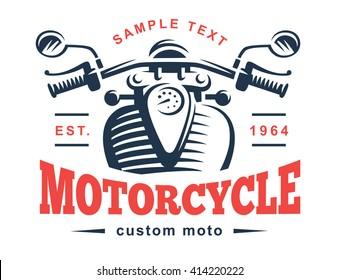 Motorcycle logo illustration. Vintage emblem on white background. Wheel