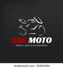 Motorcycle logo on dark background. Modern racing superbike silhouette.