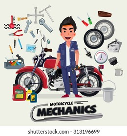 motorcycle mechanics with tool kit. character design - vector illustration