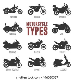 Motorcycle Model and Type. Objects icons moto set. Black vector illustration isolated on white background. Variants of motorcycle body, bike silhouette for web, template.
