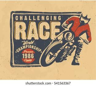 motorcycle. motocross vector.  T-shirt design. Vintage typography label