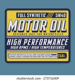 Motorcycle motor oil typography, t-shirt graphics, vectors