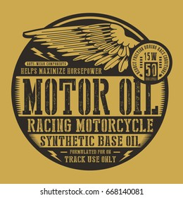 Motorcycle motor oil wing typography, tee shirt graphics, vectors