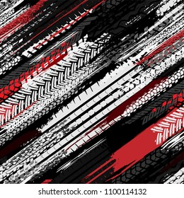 Motorcycle and motor tire tracks seamless pattern. Grunge automotive addon useful for poster, print, flyer, brochure and leaflet background design. Editable vector illustration in monochrome colors.