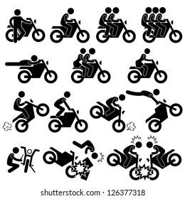 Motorcycle Motorbike Motor Bike Stunt Man Daredevil People Stick Figure Pictogram Icon