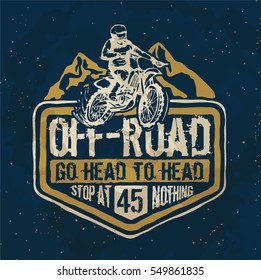 motorcycle. motorcross. Off-road typography t-shirt printing.