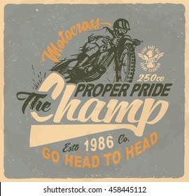 motorcycle. motorcross. Vintage illustration typography t-shirt printing