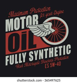 Motorcycle oil typography, t-shirt graphics, vectors