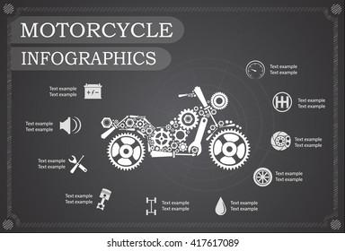 motorcycle part information. Vector illustration