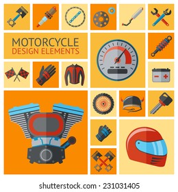 Motorcycle parts decorative icon set with motor elements wheel pistons isolated vector illustration