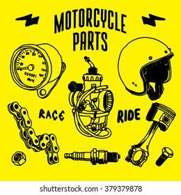 Motorcycle parts drawing vector
