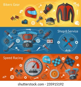 Motorcycle parts flat banners set with bikers gear shop service speed racing isolated vector illustration
