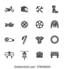 Motorcycle parts and gear icon set