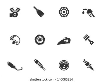 Motorcycle parts icons in single color