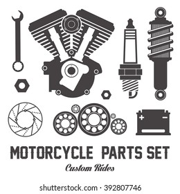 Motorcycle parts items vector flat set on white background. For icon logo banner poster design