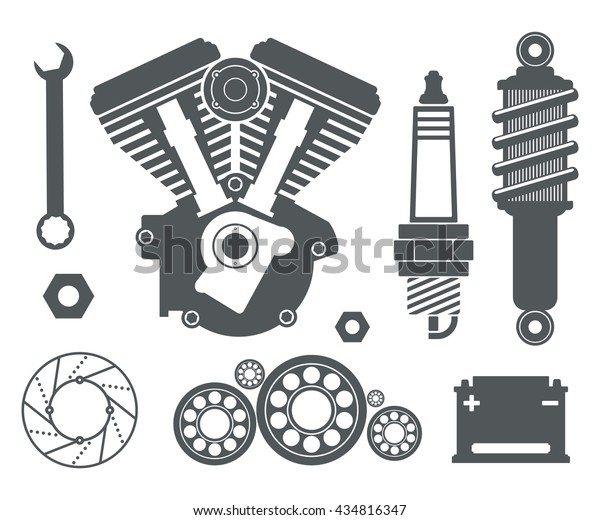 Motorcycle Parts Items Vector Flat Set Stock Vector Royalty Free