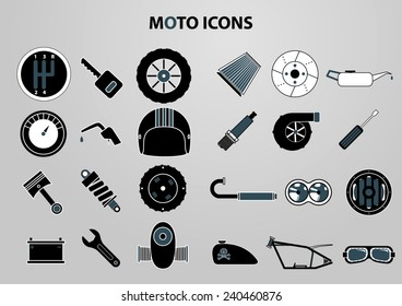 Motorcycle parts vector icon set